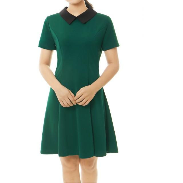 Allegra K ワンピース レディース Aライン フレアワンピース 半袖 丸襟 襟付き ドレス 細身 可愛い グリーン L