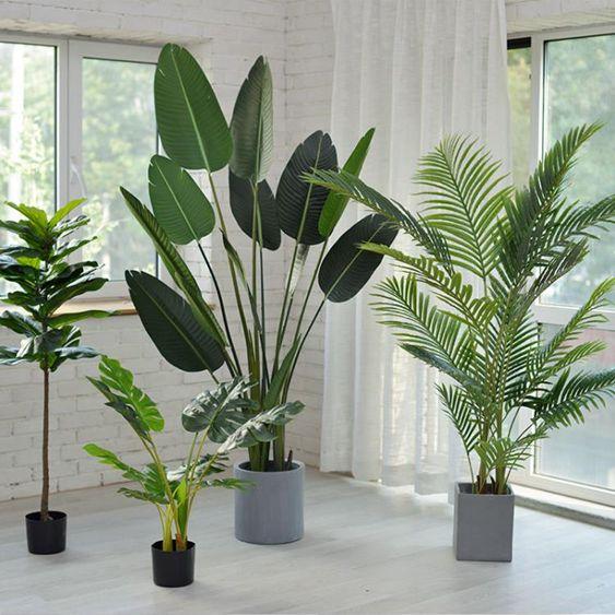 快速出貨-仿真植物旅人蕉假綠植盆栽擺件大室內花天堂鳥樹客廳北歐植物裝飾