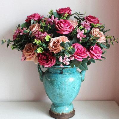 夢幻油畫玫瑰仿真花假花絹花客廳裝飾花擺件
