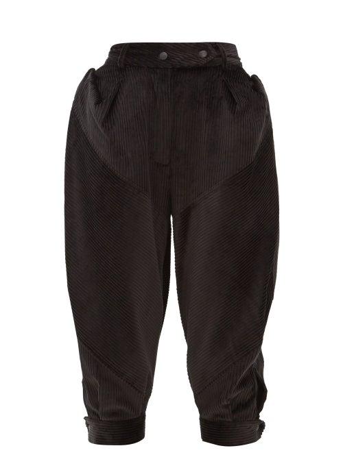 Symonds Pearmain - Puffed Cotton-corduroy Trousers - Womens - Black