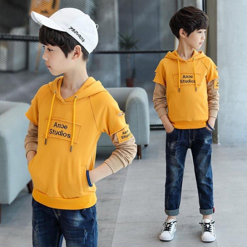 童裝男童春裝新款中大童10兒童上衣12男孩休閒連帽連帽T恤15歲 雙12購物節