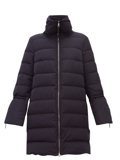 Moncler - Belia Fluted-sleeve Quilted-down Coat - Womens - Navy