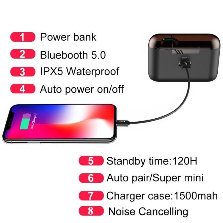 網紅爆款Q32無線藍芽耳機5.0迷你隱形入耳式運動跑步帶充電倉