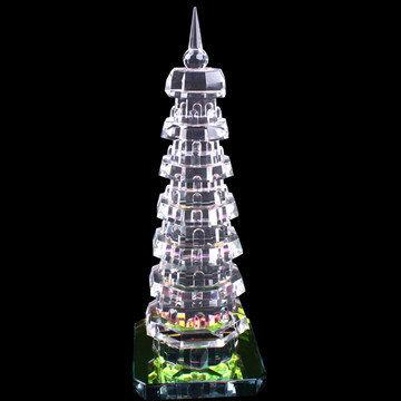 開光白水晶七層文昌塔擺件旺文助學業家居工藝品