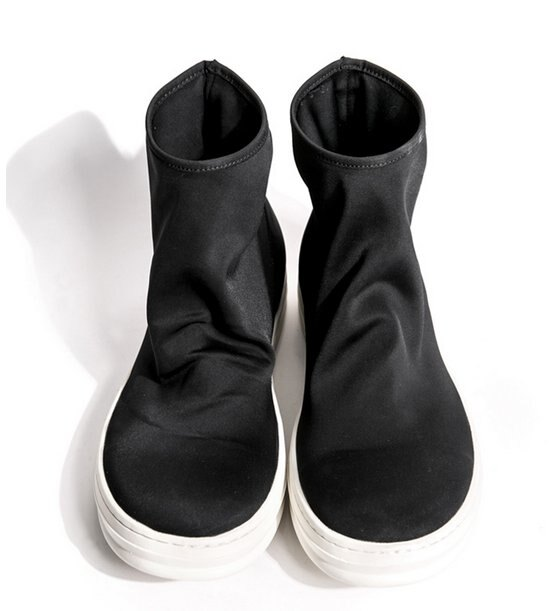 FINDSENSE MD 日系 高品質 時尚 潮 男 雙層彈力布 高幫 低跟休閒鞋 低跟鞋