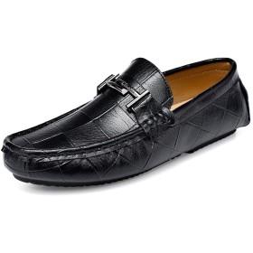 [lsjdln] メンズ靴 くつ カジュアルシューズ 25.0cm ローカット スニーカー スポーティーカジュアルなデザインのメンズシューズ 軽量 デッキシューズ メンズ ローファー 男性用カジュアルシシューズ 靴 くつ ブラック ドライビングシューズ