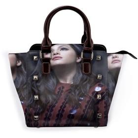 高品質レザートートショルダーバッグ、レザーショルダーリベットバッグ Selena Gomez ファッションキュートで人気のガールバッグ 、学校、ハイキング、ビジネス、仕事、旅行、買い物、デート