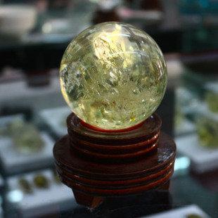 珍品收藏黃水晶球風水擺件