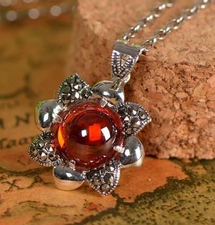 黑瑪瑙吊墜 銀飾項鏈墜子 女款珠寶首飾 銀花朵吊墜