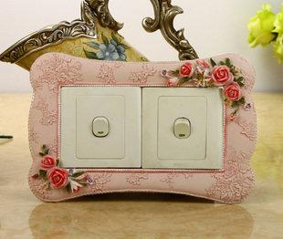 歐式雙開開關貼 樹脂並排開關套 創意 新房裝飾 插座貼