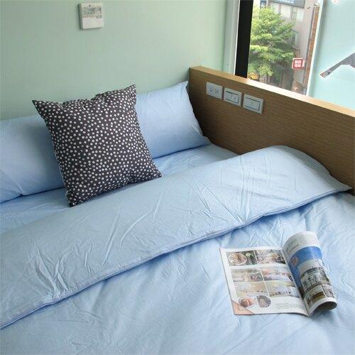 獨立筒床包 精梳棉藍色35公分床包 雙人150*186公分 提朵拉生活館 台灣製造 大鐘染印布料