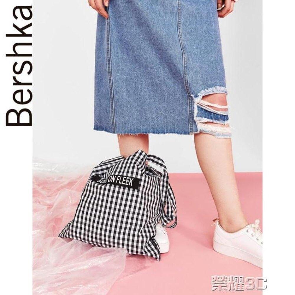 單肩包 Bershka女士 亞洲限定黑白格子單肩手提休閒帆布包 02443111250  尾牙年會禮物