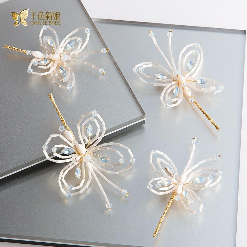 千色 新娘韓式新娘頭飾手工蝴蝶發夾結婚發飾婚紗禮服配飾品荀蝶1入