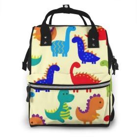 かわいいカラフルな恐竜のおむつバッグバックパックママ&パパのための多機能マタニティおむつバッグ、旅行バックパックラップトップポケット付きおむつ交換バッグ-漫画かわいいショートプッシーキャット