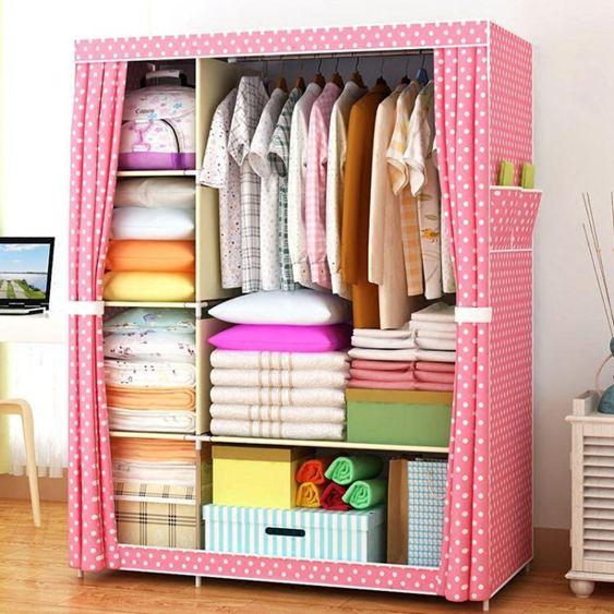 簡易衣櫃子布藝鋼架單人布衣櫃收納櫃簡約現代經濟型臥室組裝衣櫥