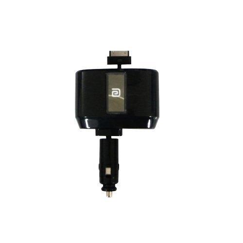 權世界@汽車用品 Autoban 直插式2孔點煙器電源擴充插座+iPhone伸縮捲線式1A充電線 AAP-Z06