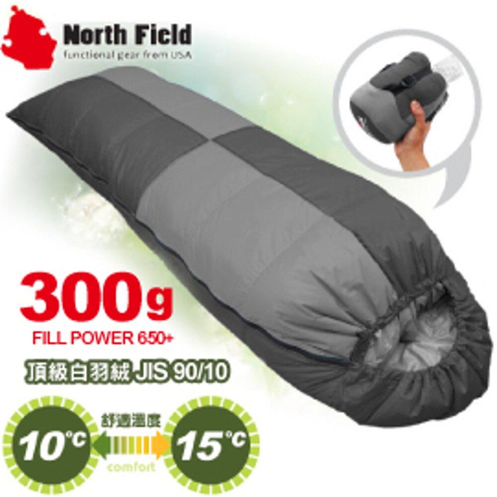 【North Field美國 信封型立體隔間90/10羽絨300g 睡袋《左/黑》】NDSD403L1/登山露營/睡袋