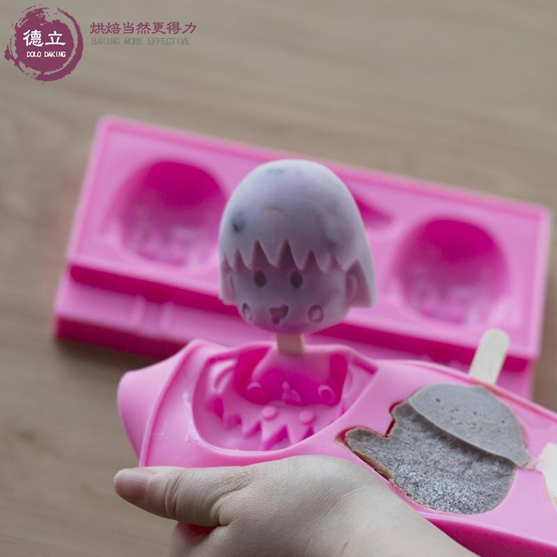 德立 創意3連冰淇淋模具 家用做雪糕冰棍冰棒模具 硅膠卡通磨具1入