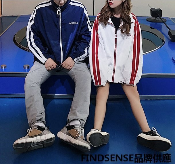 FINDSENSE品牌 秋冬款 新款 日本 男女 撞色 清新 高品質  大碼 情侶 拉鏈 休閒夾克外套 潮流上衣外套