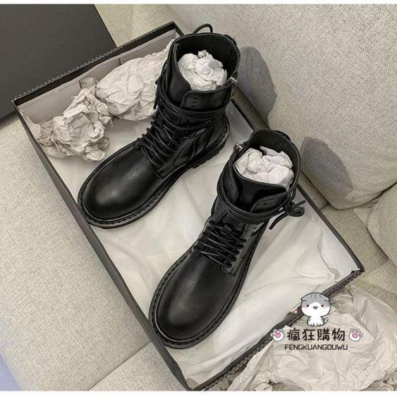 短靴 馬丁靴女2019新款女騎士靴百搭英倫風帥氣黑色切爾西靴女