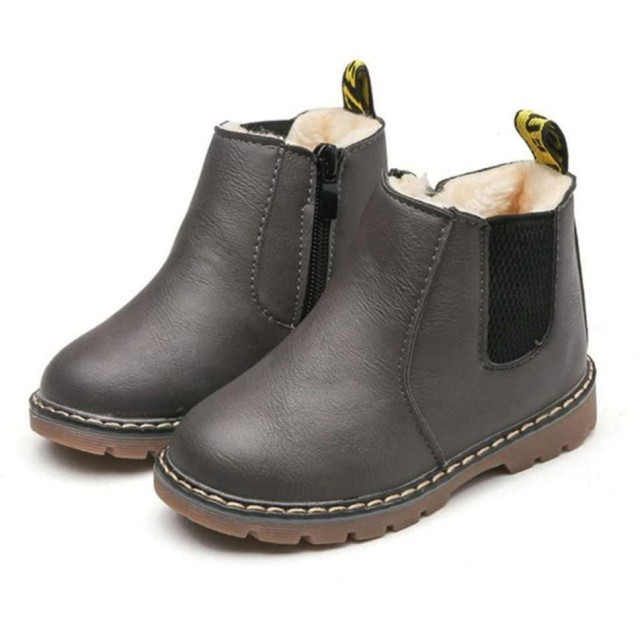 [マリア] ショートブーツ キッズ 子供用 裏起毛 マーティンブーツ マーティン靴 防寒靴 男の子 女の子 イギリス風 グレイ(普通 【32】