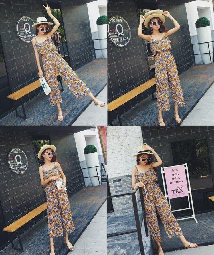 FINDSENSE G6 韓國時尚 九分褲 闊腿褲 高腰 長褲 簡約 甜美 吊帶 碎花 連身褲