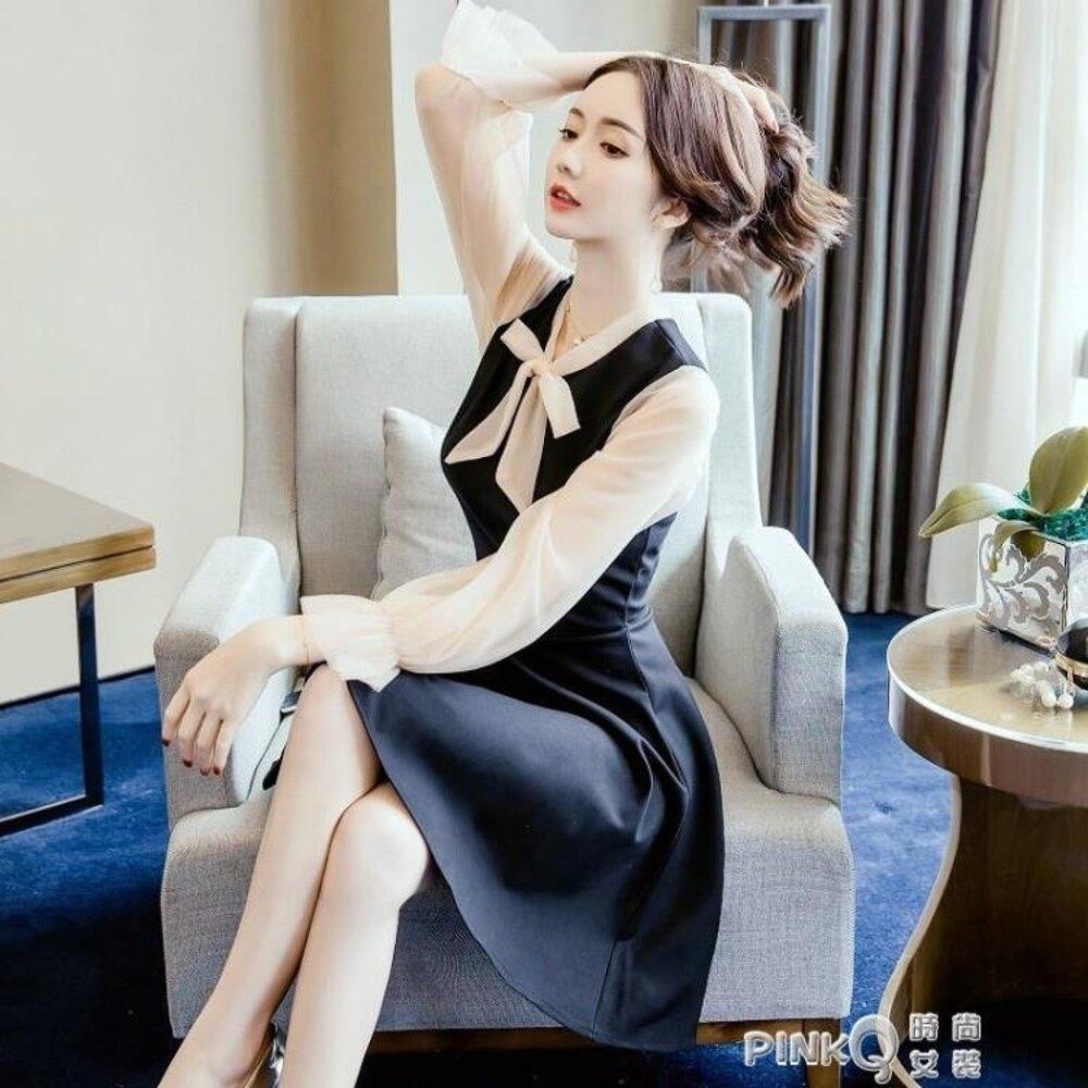 洋裝小晚禮服裙女2019新款冬宴會名媛生日派對連衣裙黑色短款年會  【PINKQ】
