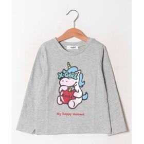 (X-girl Stages/エックスガール ステージス)ユニコーンプリントTシャツ/レディース グレー