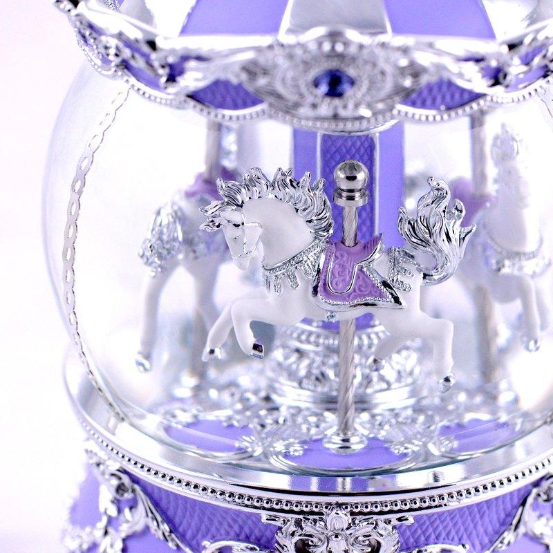 薰衣紫傘蓋遊樂馬 水晶球音樂鈴 生日禮物 情人節禮物 天空之城