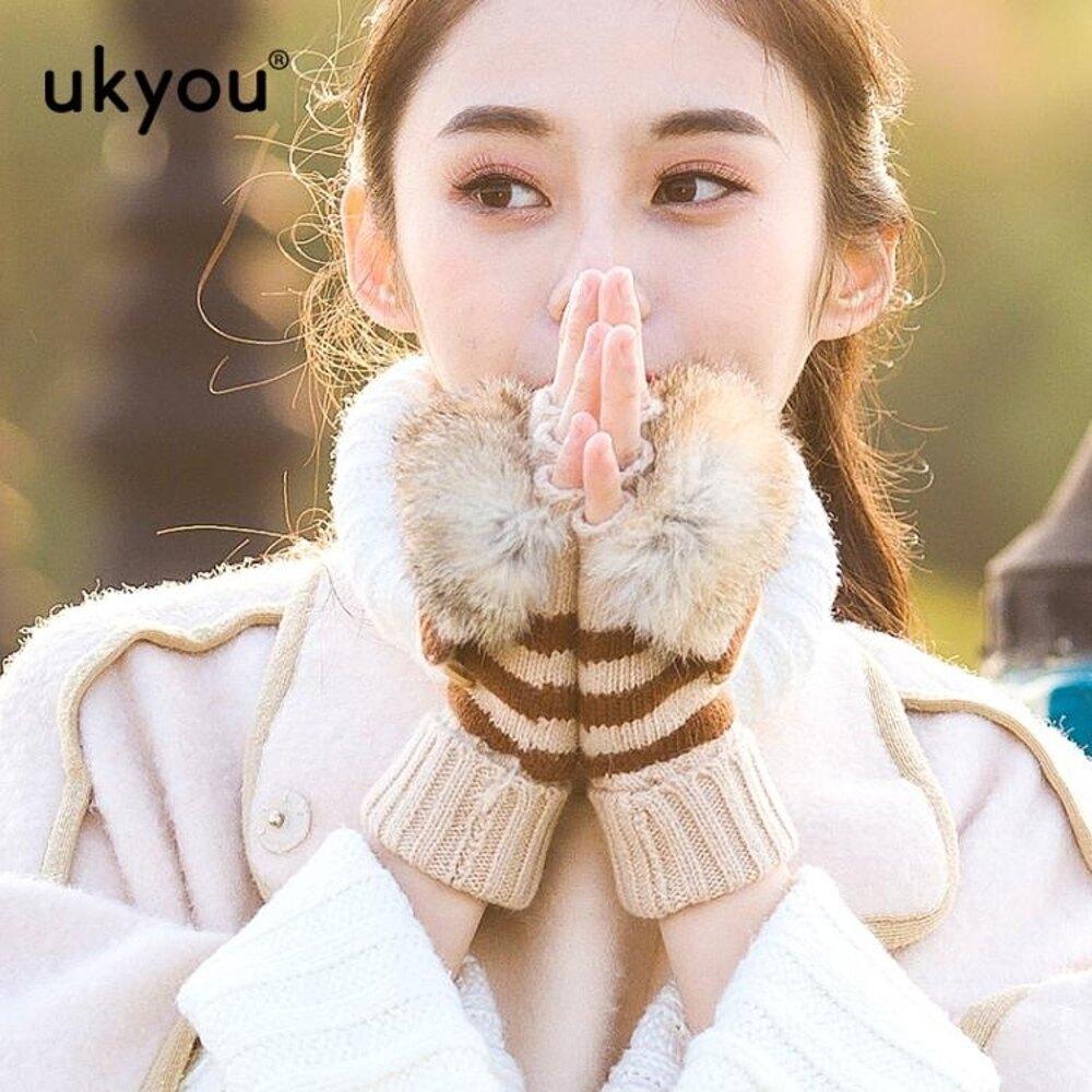 免運 羊毛手套女冬可愛保暖學生韓版騎車騎行半指翻蓋兔毛半截露指手套【韓國時尚週】