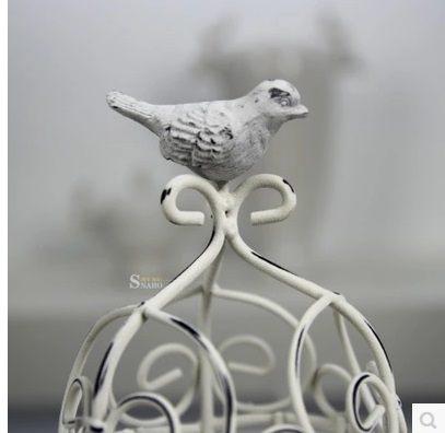 地中海鐵藝白色鳥籠燭台擺件-JD212