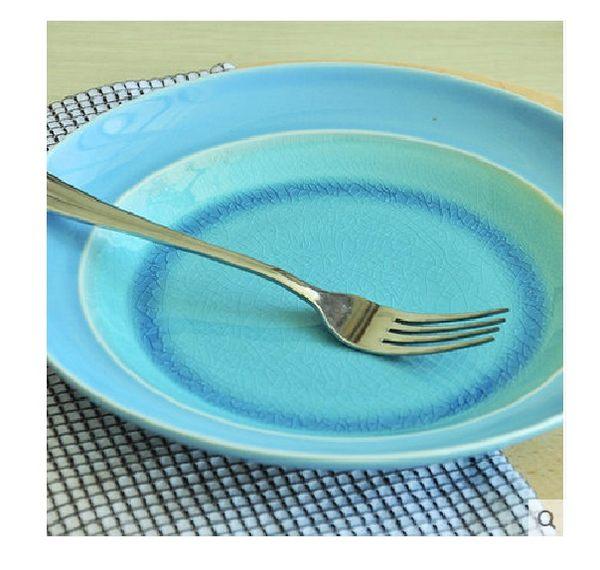 瓷工巧匠.手工制作冰裂釉中式餐深盤子(藍色)