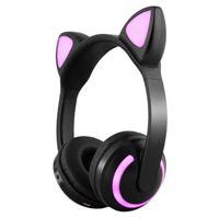 二次元頭戴式貓耳朵藍牙耳機無線可愛男女生音樂游戲折疊耳麥兒童  聖誕節禮物