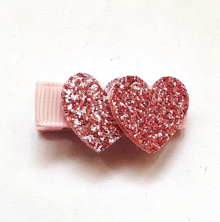 全包布髮夾.嬰兒髮夾   AB5001-5  粉色雙愛心     鴨嘴夾/瀏海夾/日韓/髮飾/頭飾/王子與公主
