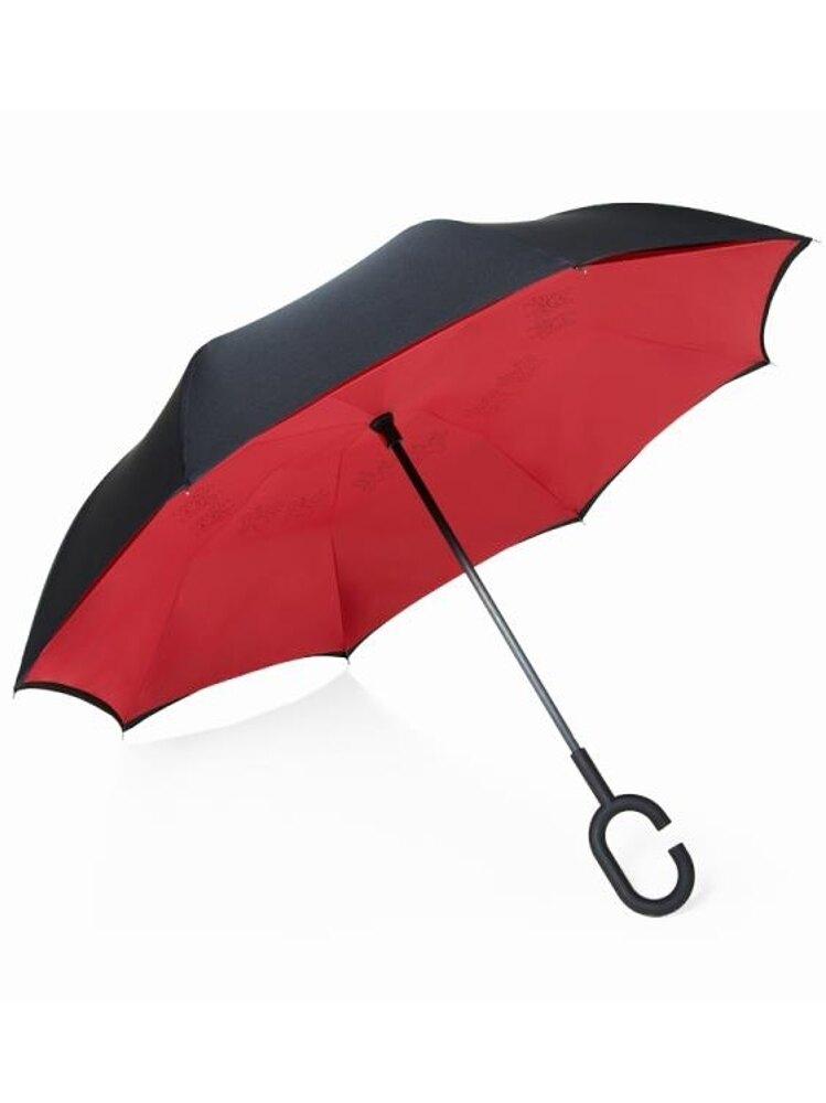 創意雙層反向傘免持式汽車晴雨傘兩用長柄大號男雙人反骨傘女商務   全館八五折