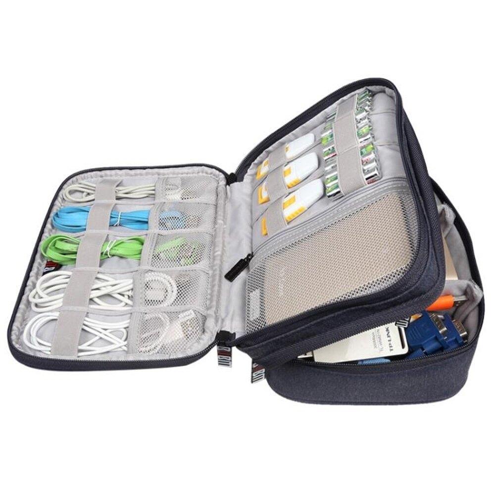 數碼收納袋 數據線收納包數碼移動硬盤保護套充電器配件整理袋耳機盒多功能 女神節樂購