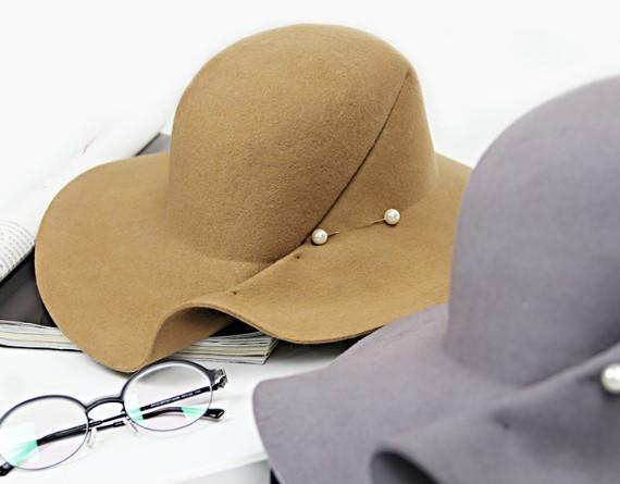 褶皺異形羊毛氈大檐帽 1入