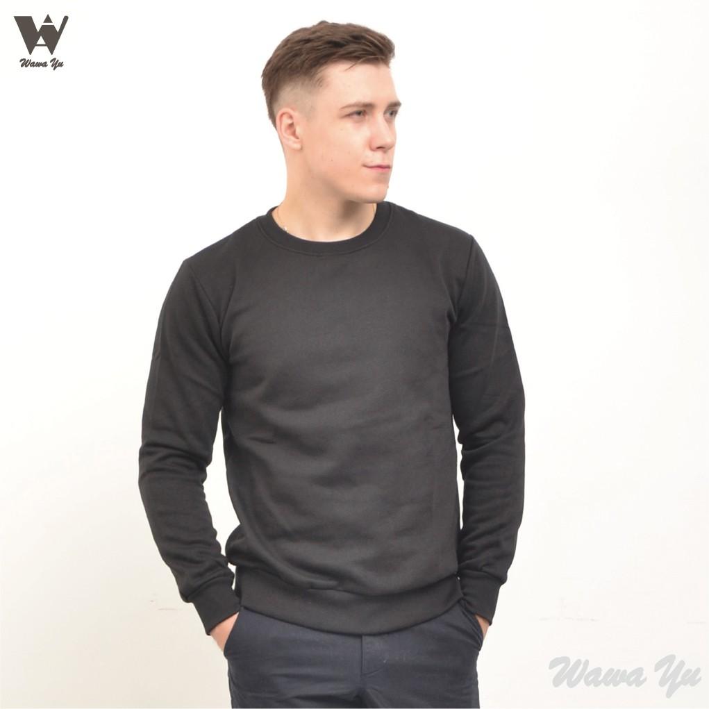 [新品]-大學T-厚棉刷毛-不起毛-長袖圓領上衣-黑色-男版 (尺碼S-2XL) [Wawa Yu品牌服飾]