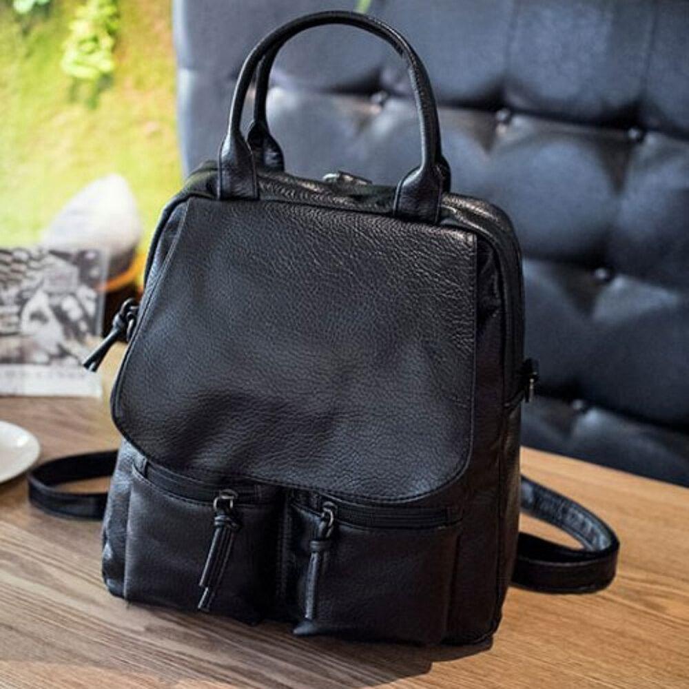 ✤宜家✤【WK16110326】時尚素色多格雙肩背包 學生書包