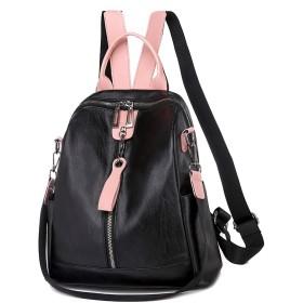 女性の革のバックパックの女の子のための大容量MochilasスクールバッグA Dos女の子のデイパック、黒、L32cm W30cm Thk13cmの女性の革のバックパック