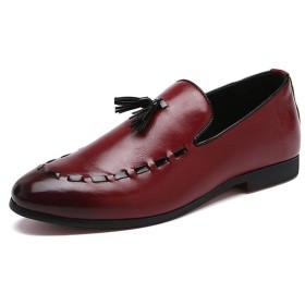 [Jusheng-shoes] メンズシューズ 男性レトロローファーボートシューズのためのオックスフォードPUレザーラバーソールポインテッドトゥアンチスリップステッチバーニッシュスタイルにスリップ カジュアルシューズ (Color : 赤, サイズ : 23.5 CM)