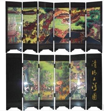 聖誕節禮物家居裝飾特色 古漆器小屏風清明上河圖工藝品擺件創意