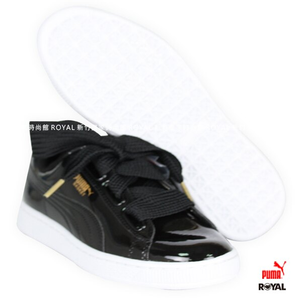 PUMA Basket Patent Wn's 黑色 緞帶 皮革 運動鞋 女款 NO.I7548【新竹皇家】