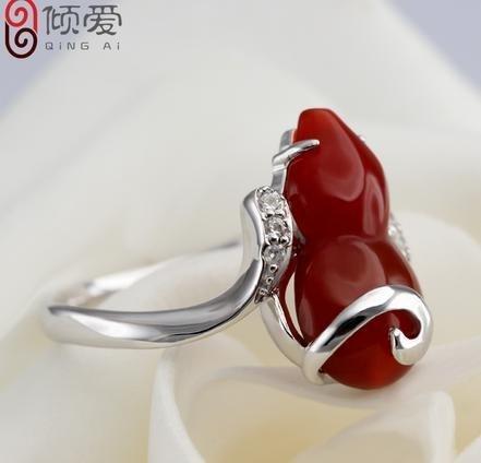 銀紅瑪瑙葫蘆項鏈戒指福祿套餐古典禮物