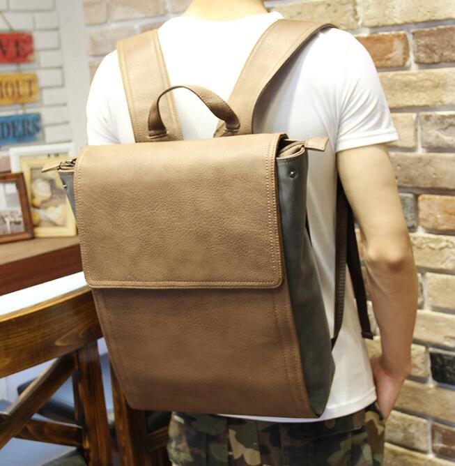 FINDSENSE Z1 韓國 時尚 潮 情侶款 皮質 休閒 旅行包 電腦包 學生包 書包 後背包 雙肩包
