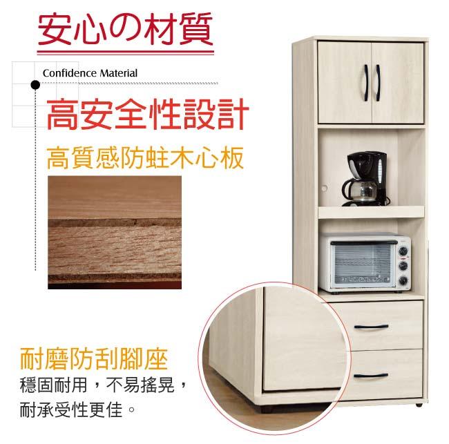 【綠家居】伊瑟琳 時尚2尺多功能高餐櫃/收納櫃