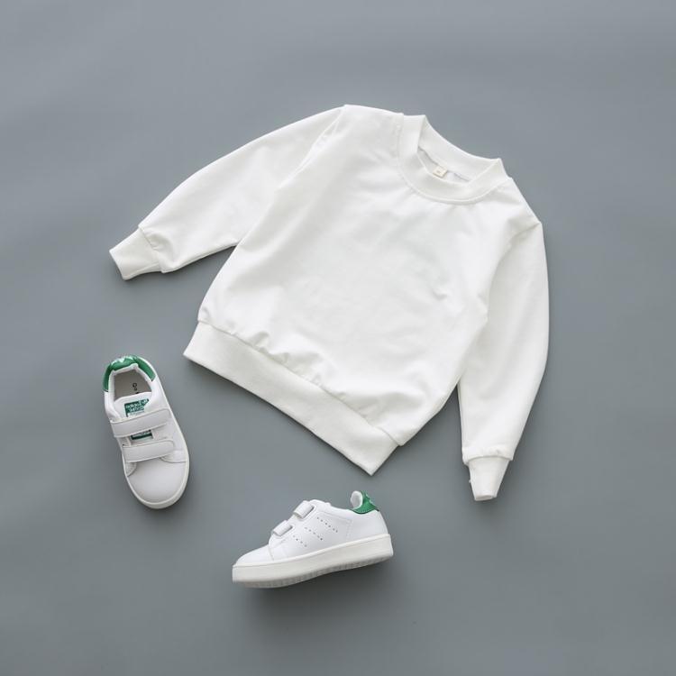 男童休閒春秋童裝長袖T恤2017新款兒童套頭圓領女童白色全棉上衣