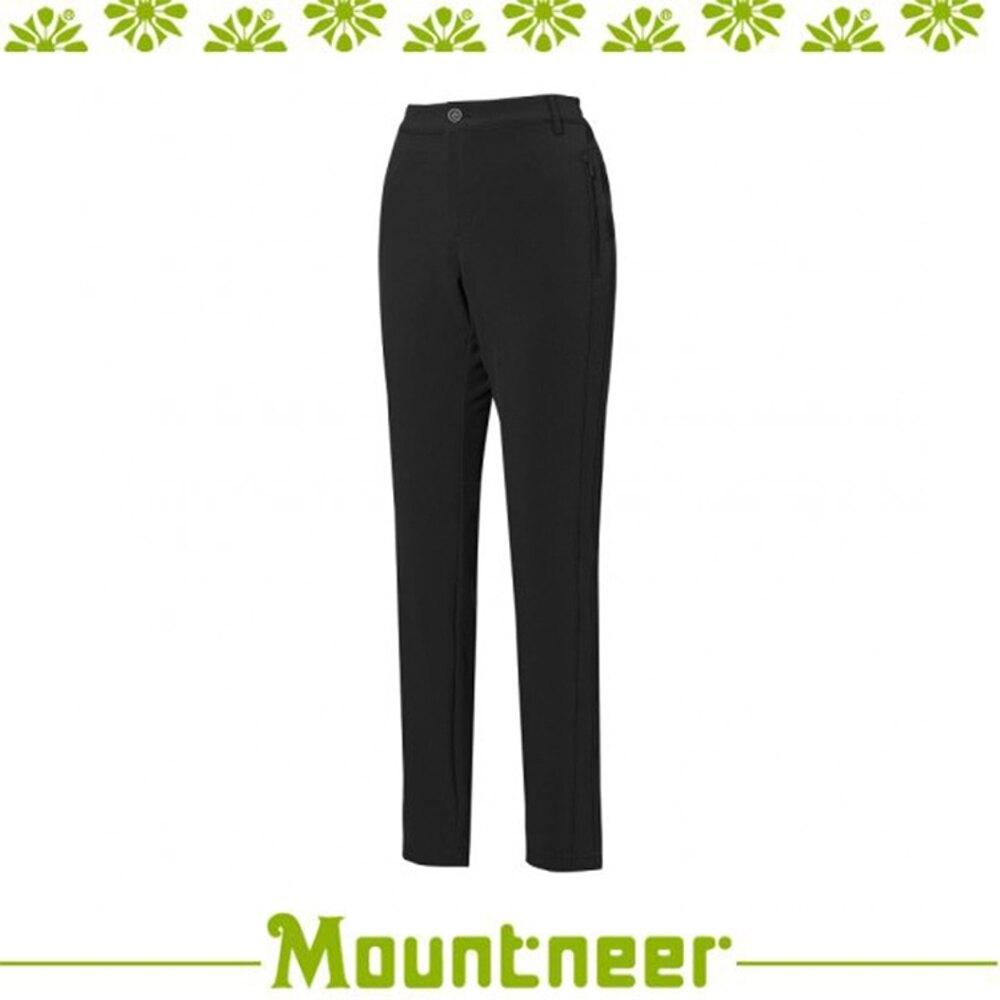 【Mountneer 山林 女 SOFTSHELL保暖極窄管褲《黑》】22S16/長褲/休閒褲/旅遊