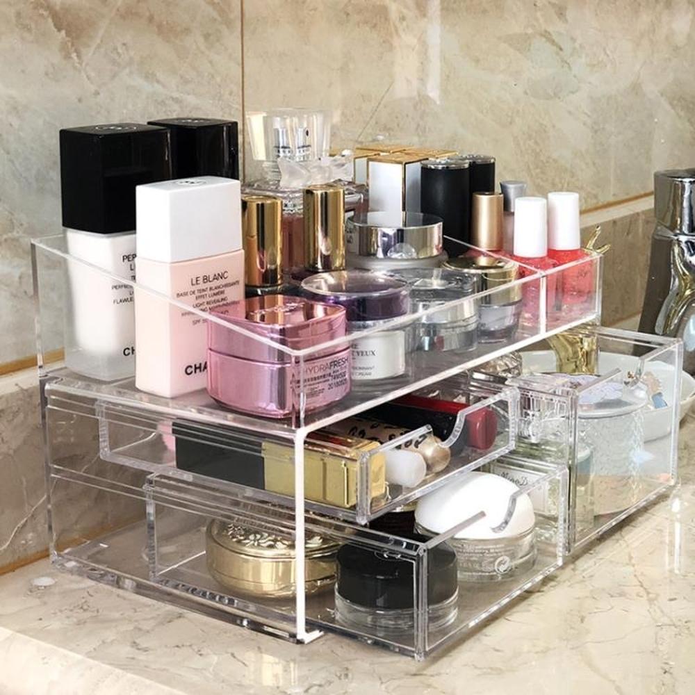 桌面化妝品收納盒亞克力抽屜式置物架