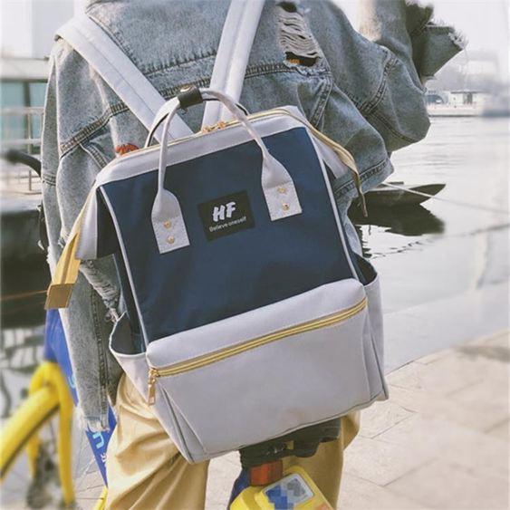日系韓版潮大容量雙肩包女中學生帆布書包原宿風旅行背包男電腦包   良品鋪子
